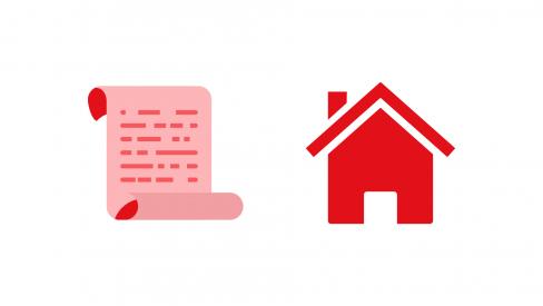 Símbolos representativos de comunicado e habitação